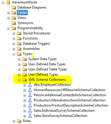 Xml schema collections in sql server sqluninterrupted each schemacollection mentioned in the list contains at least one xml schema definition which would be used by some xml column in one of the tables in the publicscrutiny Gallery